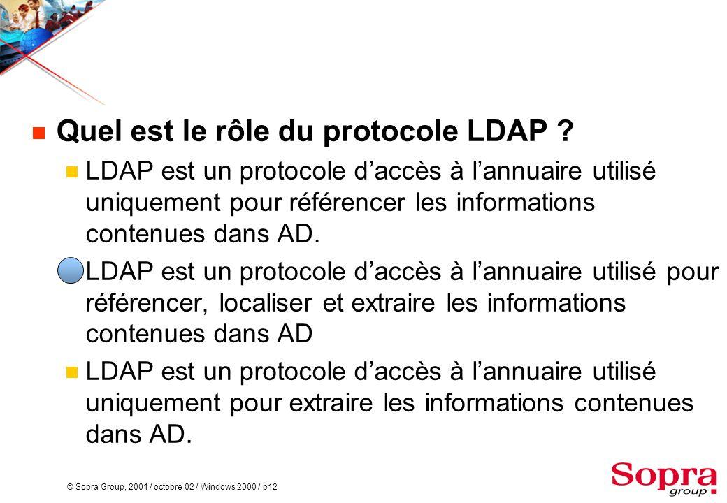 © Sopra Group, 2001 / octobre 02 / Windows 2000 / p12  Quel est le rôle du protocole LDAP ?  LDAP est un protocole d'accès à l'annuaire utilisé uniq