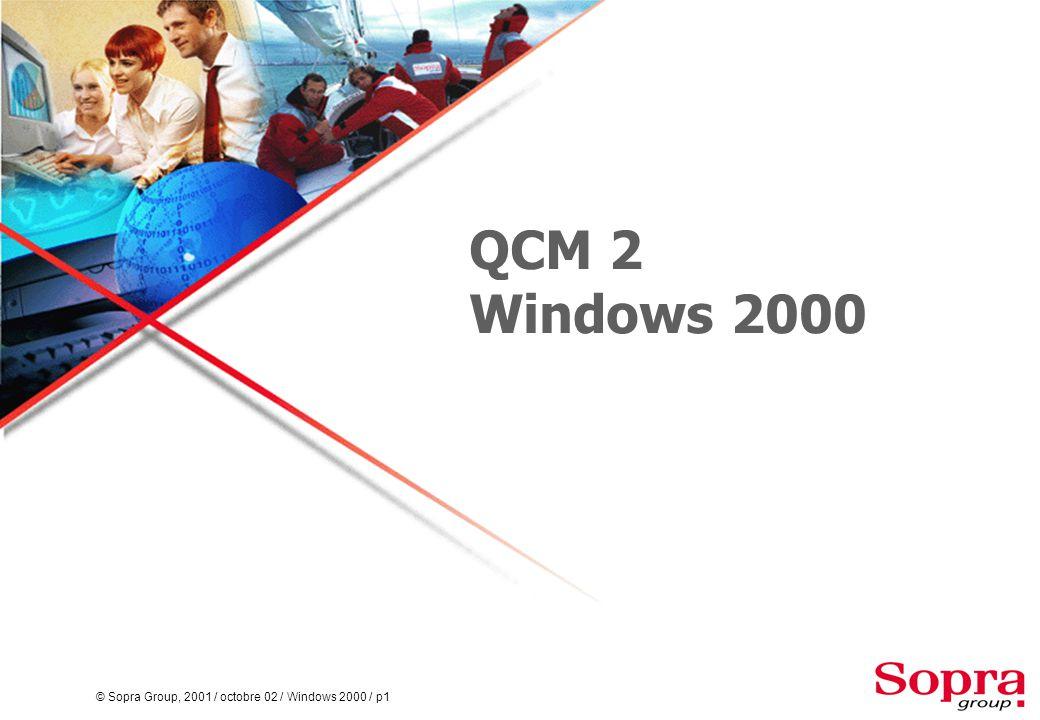 © Sopra Group, 2001 / octobre 02 / Windows 2000 / p2  Quel est la fonction du domaine dans Active Directory .