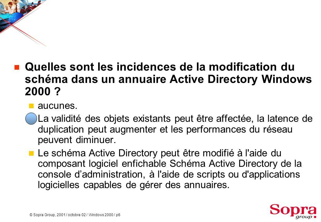 © Sopra Group, 2001 / octobre 02 / Windows 2000 / p6  Quelles sont les incidences de la modification du schéma dans un annuaire Active Directory Wind