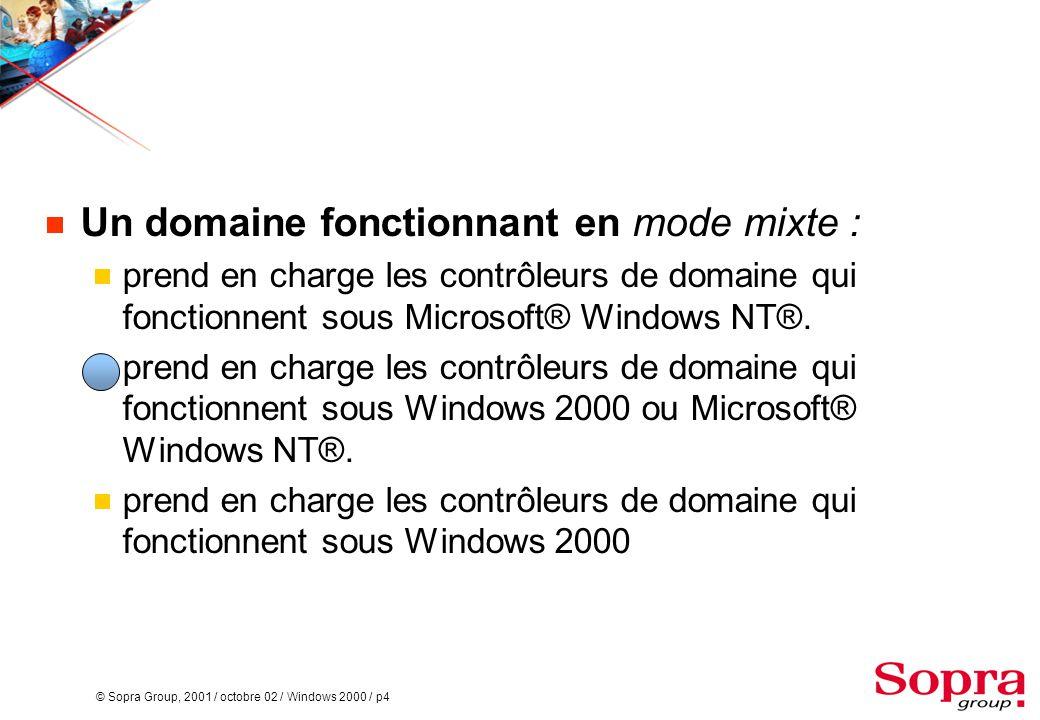 © Sopra Group, 2001 / octobre 02 / Windows 2000 / p4  Un domaine fonctionnant en mode mixte :  prend en charge les contrôleurs de domaine qui fonctionnent sous Microsoft® Windows NT®.