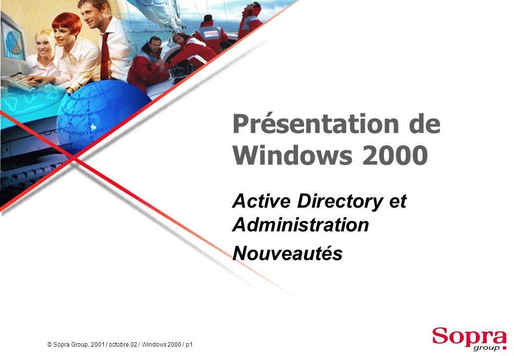 © Sopra Group, 2001 / octobre 02 / Windows 2000 / p72 Windows 2000 serveur d'applications  Active Directory n'est pas installé  Le serveur Windows 2000 est membre ou autonome  Les applications tirent partie de la puissance de Windows 2000 PDC Windows NT BDC Windows NT Serveur d'applications Windows 2000 Client Windows 2000 Client Windows 9x