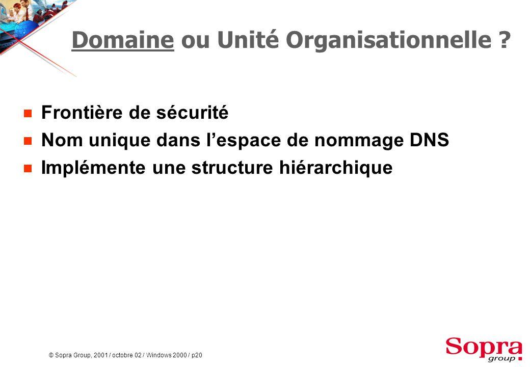 © Sopra Group, 2001 / octobre 02 / Windows 2000 / p20 Domaine ou Unité Organisationnelle .