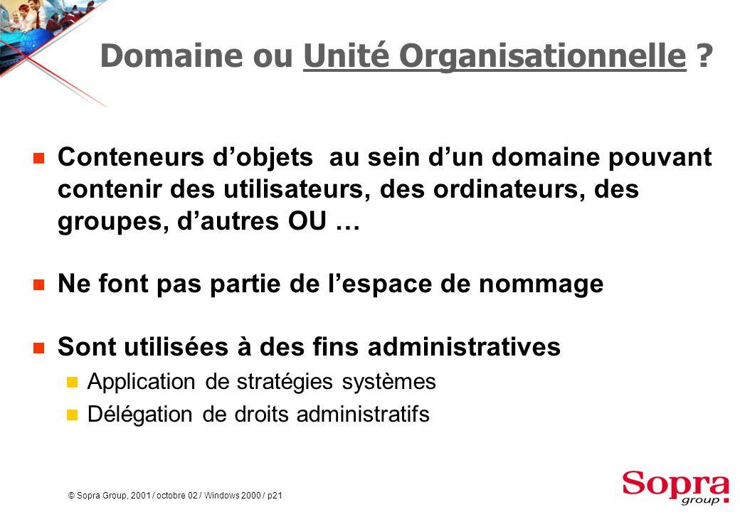 © Sopra Group, 2001 / octobre 02 / Windows 2000 / p21 Domaine ou Unité Organisationnelle .