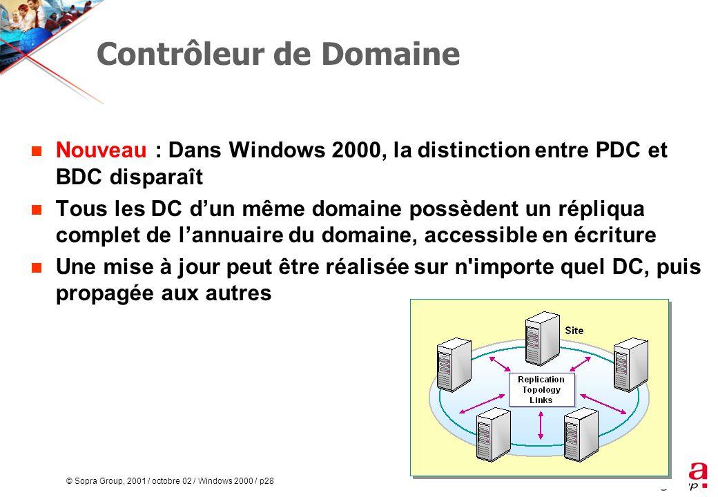 © Sopra Group, 2001 / octobre 02 / Windows 2000 / p28 Contrôleur de Domaine  Nouveau : Dans Windows 2000, la distinction entre PDC et BDC disparaît  Tous les DC d'un même domaine possèdent un répliqua complet de l'annuaire du domaine, accessible en écriture  Une mise à jour peut être réalisée sur n importe quel DC, puis propagée aux autres