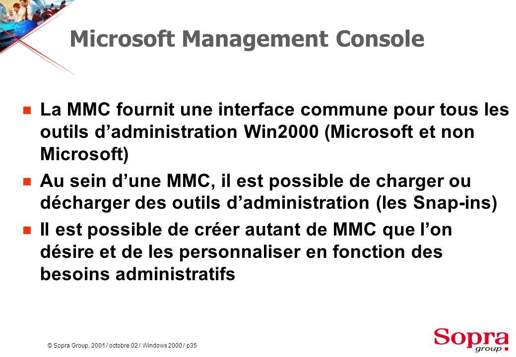 © Sopra Group, 2001 / octobre 02 / Windows 2000 / p35 Microsoft Management Console  La MMC fournit une interface commune pour tous les outils d'administration Win2000 (Microsoft et non Microsoft)  Au sein d'une MMC, il est possible de charger ou décharger des outils d'administration (les Snap-ins)  Il est possible de créer autant de MMC que l'on désire et de les personnaliser en fonction des besoins administratifs