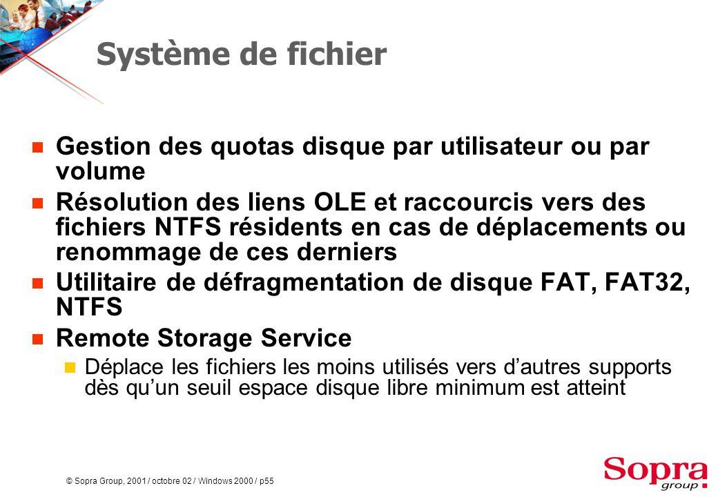 © Sopra Group, 2001 / octobre 02 / Windows 2000 / p55 Système de fichier  Gestion des quotas disque par utilisateur ou par volume  Résolution des liens OLE et raccourcis vers des fichiers NTFS résidents en cas de déplacements ou renommage de ces derniers  Utilitaire de défragmentation de disque FAT, FAT32, NTFS  Remote Storage Service  Déplace les fichiers les moins utilisés vers d'autres supports dès qu'un seuil espace disque libre minimum est atteint