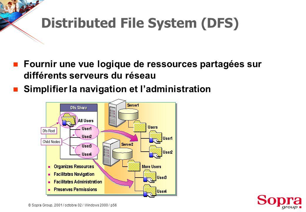 © Sopra Group, 2001 / octobre 02 / Windows 2000 / p56 Distributed File System (DFS)  Fournir une vue logique de ressources partagées sur différents serveurs du réseau  Simplifier la navigation et l'administration