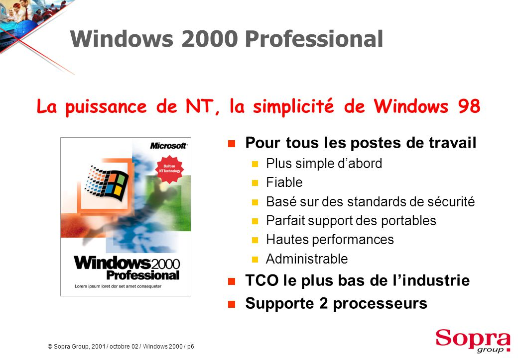 © Sopra Group, 2001 / octobre 02 / Windows 2000 / p77 Restructuration  Consolidation de domaines  Déplacement entre les domaines des comptes, groupes, machines  Conception d'une arborescence de domaine idéale Restructuration DUP1 RES1RES2RES3 DUP2 societe.fr asie.societe.freurope.societe.fr