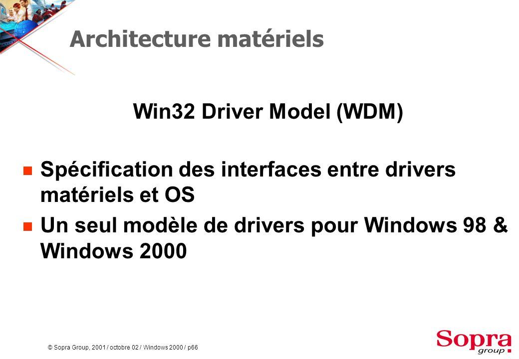 © Sopra Group, 2001 / octobre 02 / Windows 2000 / p66 Architecture matériels Win32 Driver Model (WDM)  Spécification des interfaces entre drivers matériels et OS  Un seul modèle de drivers pour Windows 98 & Windows 2000