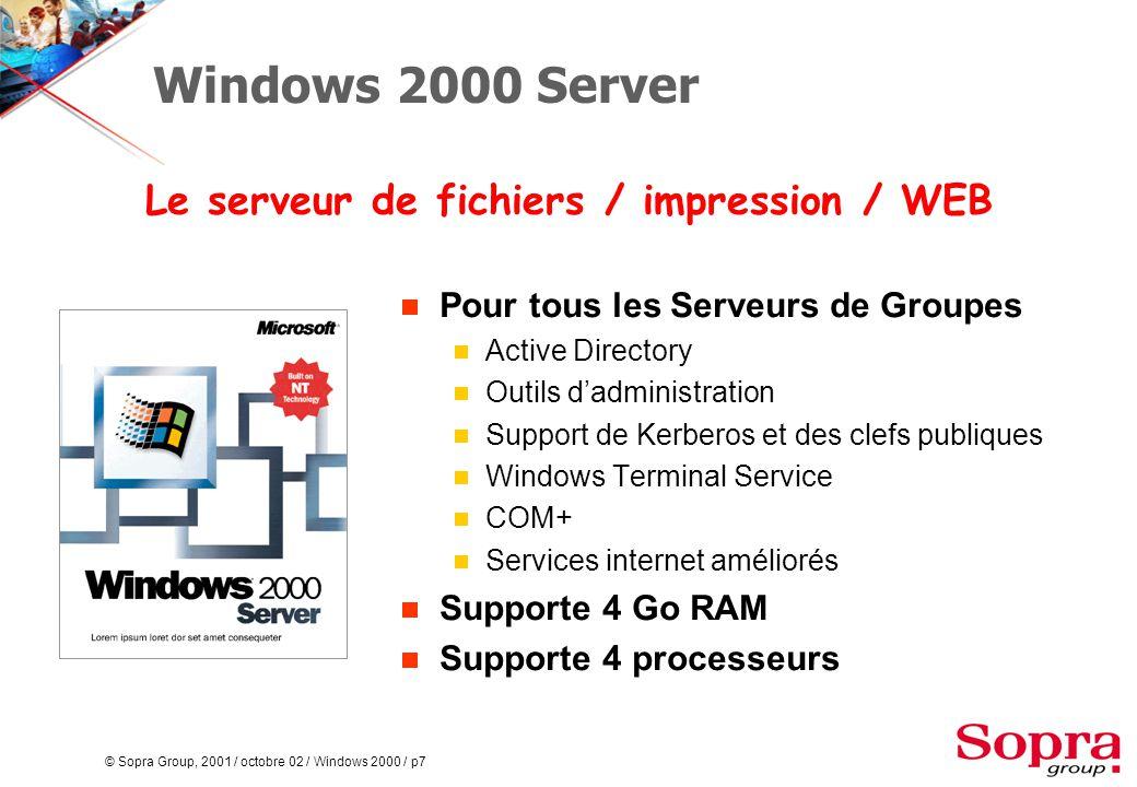 © Sopra Group, 2001 / octobre 02 / Windows 2000 / p38 Stratégies de Groupe  Une stratégie de groupe est un ensemble de paramètres de configuration que l'on peut appliquer à un Site, un Domaine ou une unité organisationnelle.