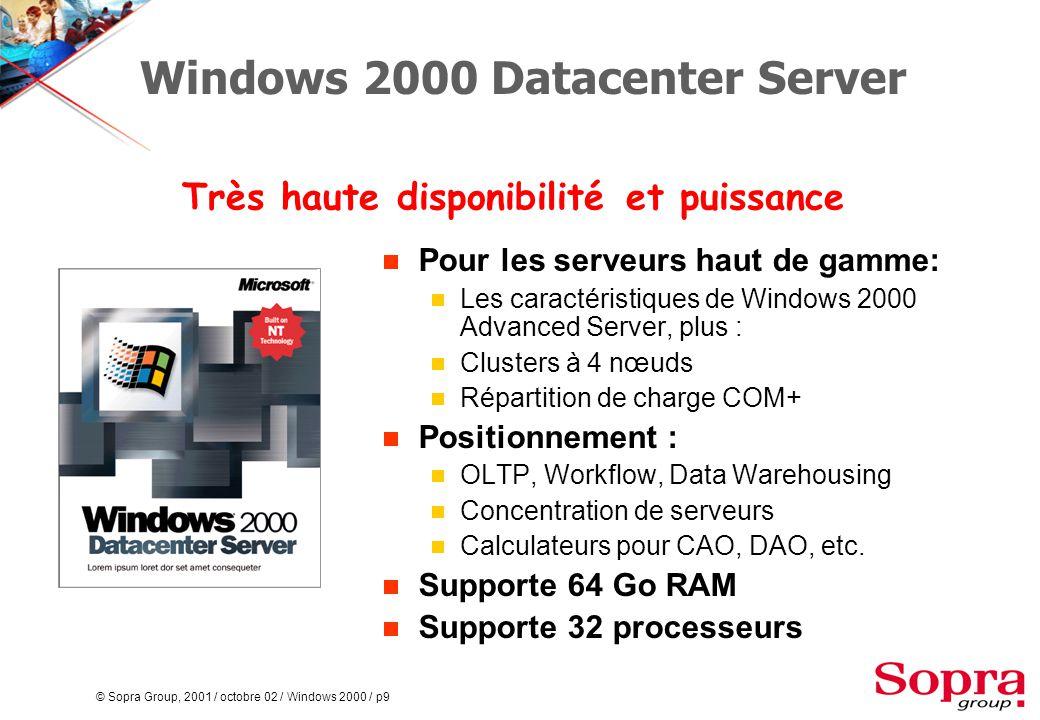© Sopra Group, 2001 / octobre 02 / Windows 2000 / p80 Synchronisation avec d'autres annuaires  Active Directory Connector (ADC)  Synchronisation avec Exchange 5.5  DirSynch  Outil de synchronisation ouvert (extensible, interfaces publiées)  MS DSS avec la NDS ADC&DirSynchADC&DirSynch Active Directory Other...Other...