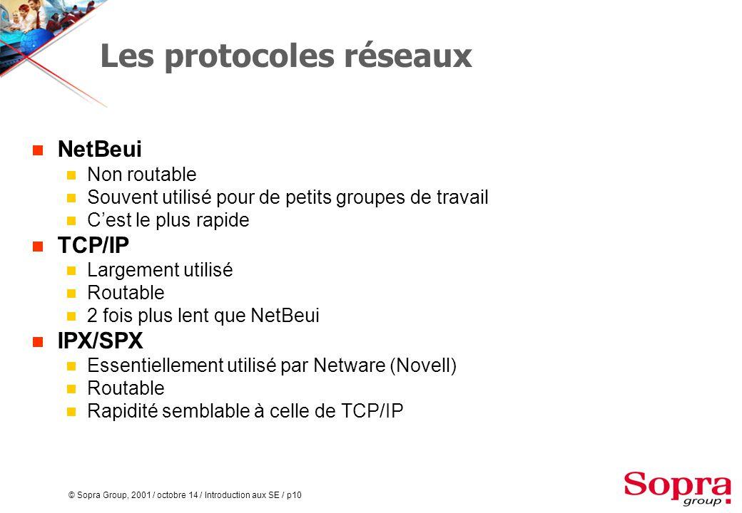 © Sopra Group, 2001 / octobre 14 / Introduction aux SE / p10 Les protocoles réseaux  NetBeui  Non routable  Souvent utilisé pour de petits groupes de travail  C'est le plus rapide  TCP/IP  Largement utilisé  Routable  2 fois plus lent que NetBeui  IPX/SPX  Essentiellement utilisé par Netware (Novell)  Routable  Rapidité semblable à celle de TCP/IP