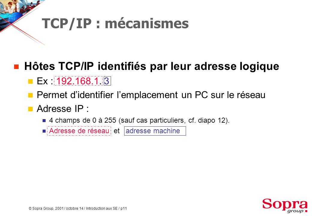 © Sopra Group, 2001 / octobre 14 / Introduction aux SE / p11 TCP/IP : mécanismes  Hôtes TCP/IP identifiés par leur adresse logique  Ex : 192.168.1.