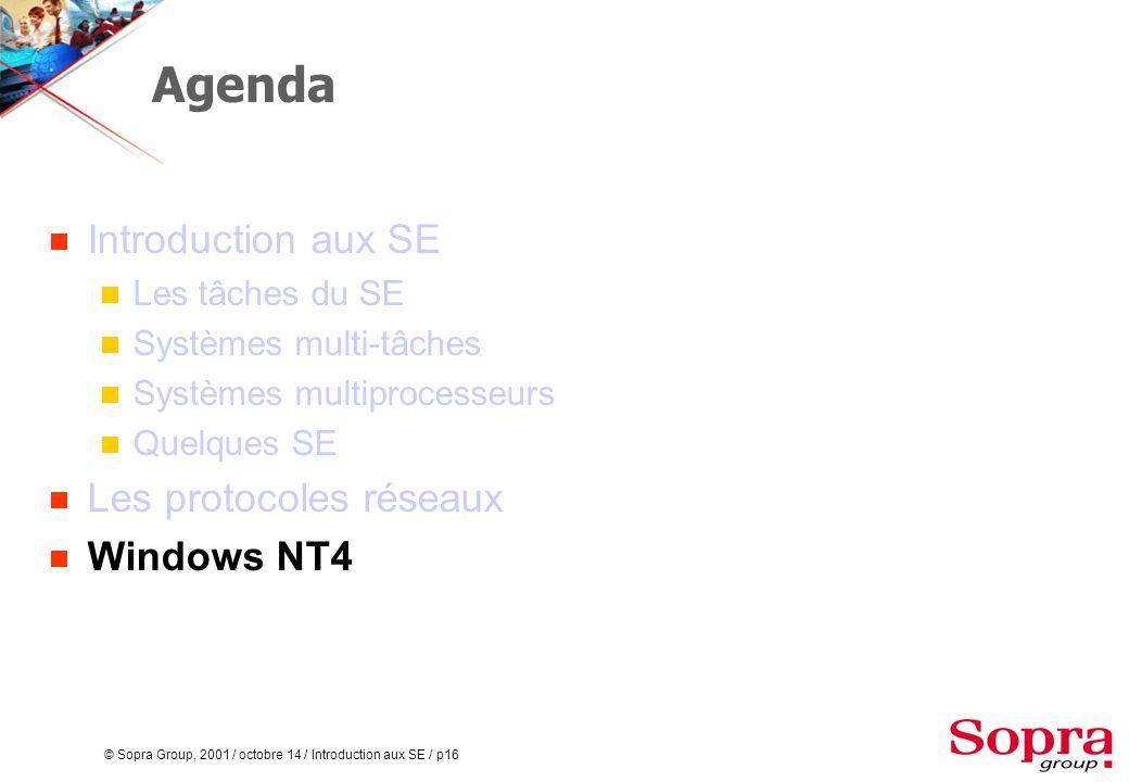 © Sopra Group, 2001 / octobre 14 / Introduction aux SE / p16 Agenda  Introduction aux SE  Les tâches du SE  Systèmes multi-tâches  Systèmes multiprocesseurs  Quelques SE  Les protocoles réseaux  Windows NT4