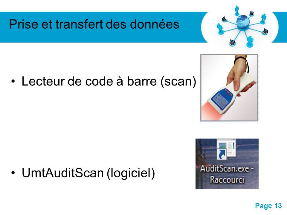Pour plus de modèles : Modèles Powerpoint PPT gratuitsModèles Powerpoint PPT gratuits Page 13 Lecteur de code à barre (scan) UmtAuditScan (logiciel) P