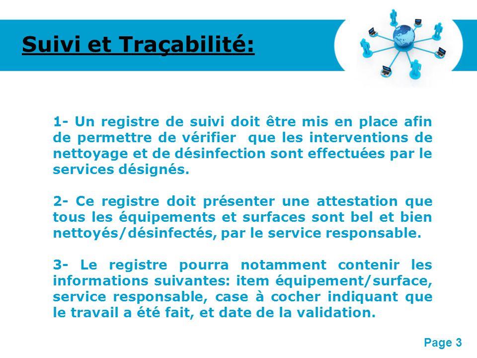 Pour plus de modèles : Modèles Powerpoint PPT gratuitsModèles Powerpoint PPT gratuits Page 3 Suivi et Traçabilité: 1- Un registre de suivi doit être m