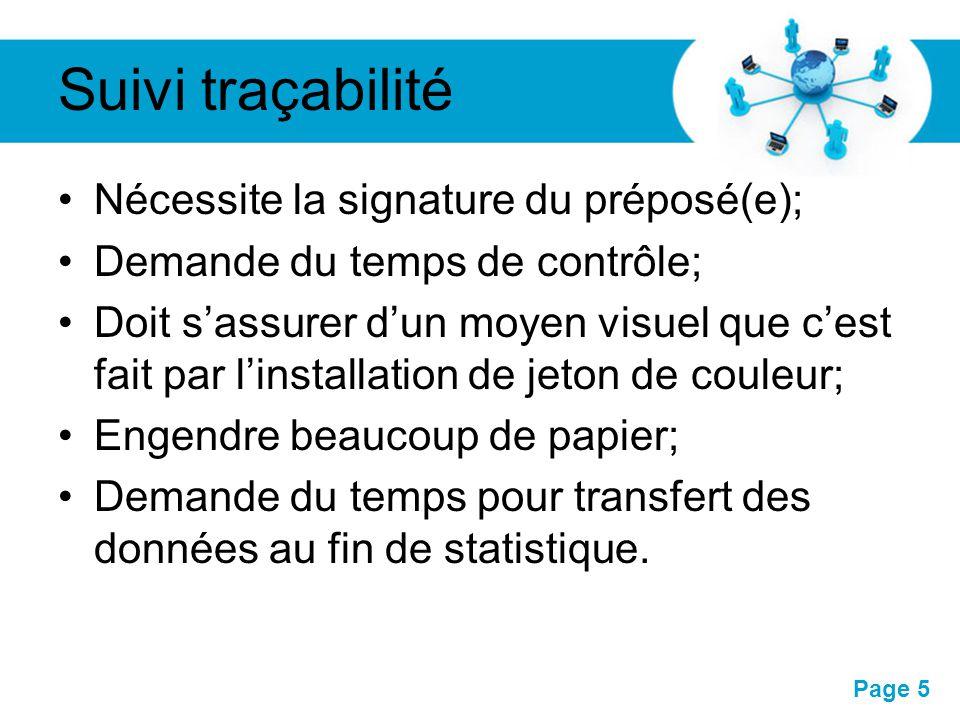 Pour plus de modèles : Modèles Powerpoint PPT gratuitsModèles Powerpoint PPT gratuits Page 5 Suivi traçabilité Nécessite la signature du préposé(e); D