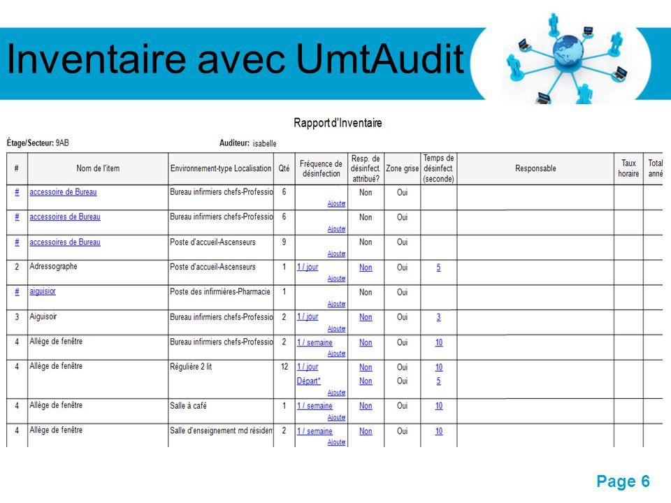 Pour plus de modèles : Modèles Powerpoint PPT gratuitsModèles Powerpoint PPT gratuits Page 6 Inventaire avec UmtAudit