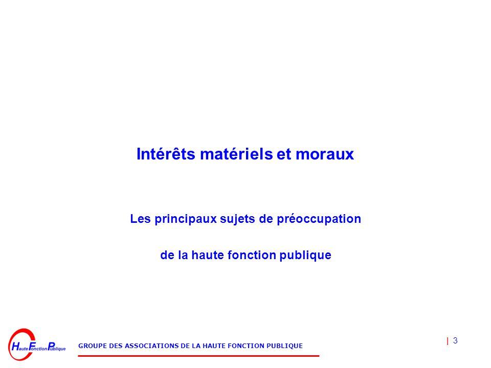 | 3 GROUPE DES ASSOCIATIONS DE LA HAUTE FONCTION PUBLIQUE Intérêts matériels et moraux Les principaux sujets de préoccupation de la haute fonction publique