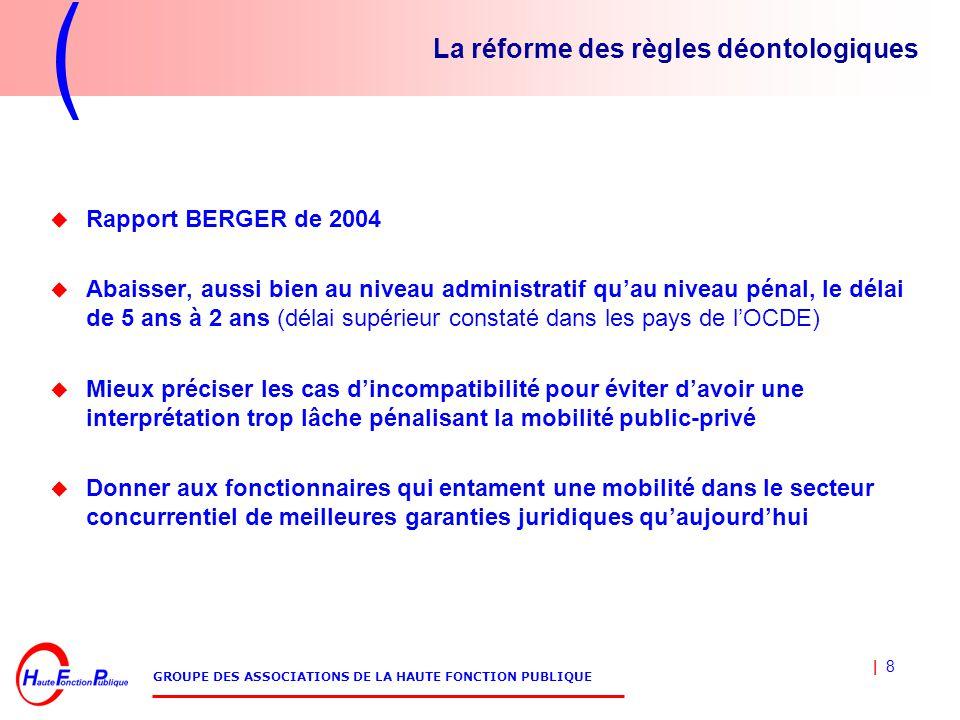 | 8 GROUPE DES ASSOCIATIONS DE LA HAUTE FONCTION PUBLIQUE La réforme des règles déontologiques  Rapport BERGER de 2004  Abaisser, aussi bien au niveau administratif qu'au niveau pénal, le délai de 5 ans à 2 ans (délai supérieur constaté dans les pays de l'OCDE)  Mieux préciser les cas d'incompatibilité pour éviter d'avoir une interprétation trop lâche pénalisant la mobilité public-privé  Donner aux fonctionnaires qui entament une mobilité dans le secteur concurrentiel de meilleures garanties juridiques qu'aujourd'hui