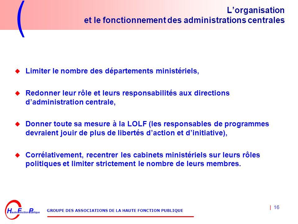 | 16 GROUPE DES ASSOCIATIONS DE LA HAUTE FONCTION PUBLIQUE L'organisation et le fonctionnement des administrations centrales  Limiter le nombre des d