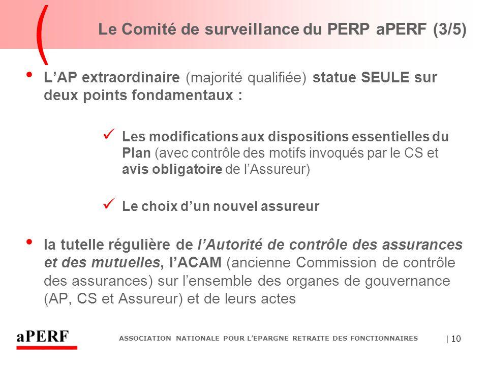 | 10 ASSOCIATION NATIONALE POUR L'EPARGNE RETRAITE DES FONCTIONNAIRES Le Comité de surveillance du PERP aPERF (3/5) L'AP extraordinaire (majorité qual