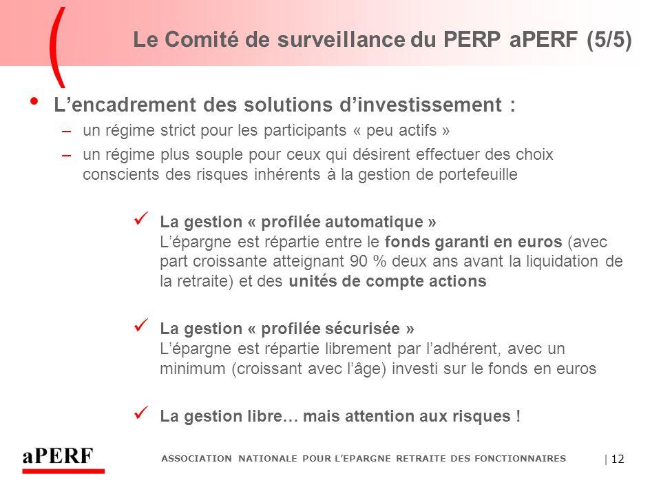 | 12 ASSOCIATION NATIONALE POUR L'EPARGNE RETRAITE DES FONCTIONNAIRES Le Comité de surveillance du PERP aPERF (5/5) L'encadrement des solutions d'inve