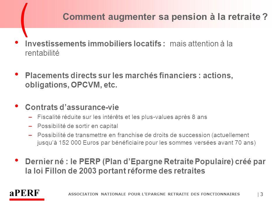   4 ASSOCIATION NATIONALE POUR L'EPARGNE RETRAITE DES FONCTIONNAIRES Les principales caractéristiques des PERP Avantage fiscal : les sommes investies dans un PERP sont déduites de l'assiette du revenu imposable dans la limite de 10 % des revenus de l'année (avec en 2006 un minimum de 3 019 euros et un maximum de 24 154 euros) Avec le taux marginal de 40 %, 100 euros investis ne coûtent que 60 euros Supports financiers des PERP : les mêmes que ceux de l'assurance-vie (Fonds euros à capital garanti, Fonds actions, Fonds obligataires, etc.) Principal inconvénient : la sortie n'est possible qu'en rente (mais avec possibilités de réversion sur une autre personne)