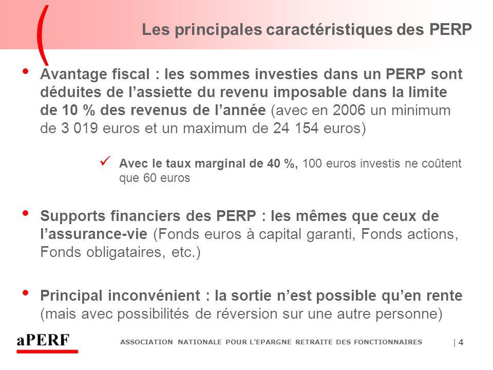 | 4 ASSOCIATION NATIONALE POUR L'EPARGNE RETRAITE DES FONCTIONNAIRES Les principales caractéristiques des PERP Avantage fiscal : les sommes investies