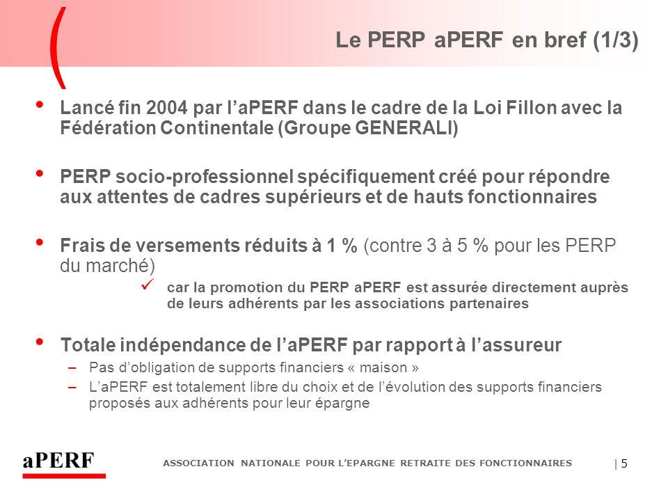 | 5 ASSOCIATION NATIONALE POUR L'EPARGNE RETRAITE DES FONCTIONNAIRES Le PERP aPERF en bref (1/3) Lancé fin 2004 par l'aPERF dans le cadre de la Loi Fi
