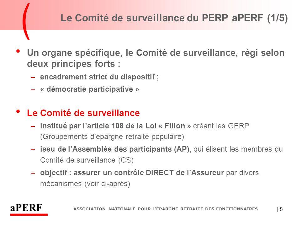 | 8 ASSOCIATION NATIONALE POUR L'EPARGNE RETRAITE DES FONCTIONNAIRES Le Comité de surveillance du PERP aPERF (1/5) Un organe spécifique, le Comité de