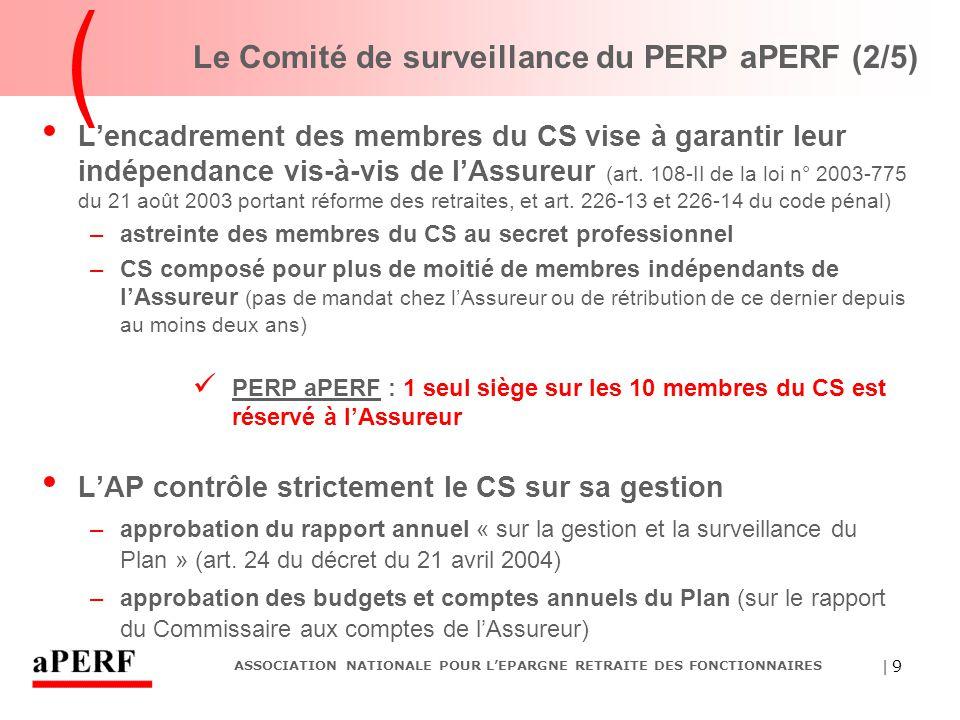 | 9 ASSOCIATION NATIONALE POUR L'EPARGNE RETRAITE DES FONCTIONNAIRES Le Comité de surveillance du PERP aPERF (2/5) L'encadrement des membres du CS vis