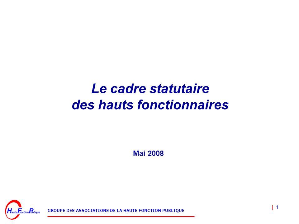 | 1 GROUPE DES ASSOCIATIONS DE LA HAUTE FONCTION PUBLIQUE Le cadre statutaire des hauts fonctionnaires Mai 2008