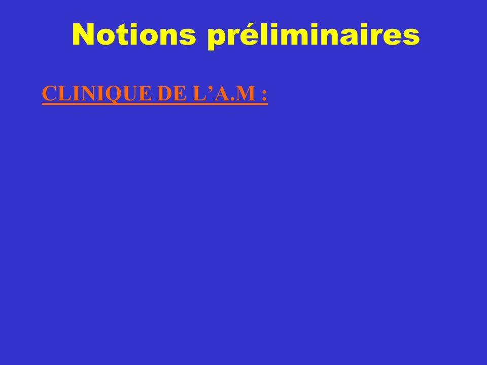 Notions préliminaires CLINIQUE DE L'A.M :