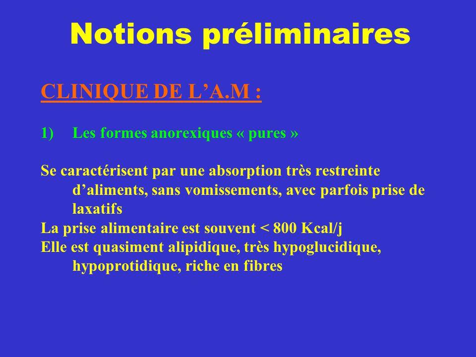 Notions préliminaires CLINIQUE DE L'A.M : 1)Les formes anorexiques « pures » Se caractérisent par une absorption très restreinte d'aliments, sans vomi