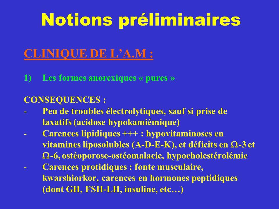 Notions préliminaires CLINIQUE DE L'A.M : 1)Les formes anorexiques « pures » CONSEQUENCES : -Peu de troubles électrolytiques, sauf si prise de laxatif