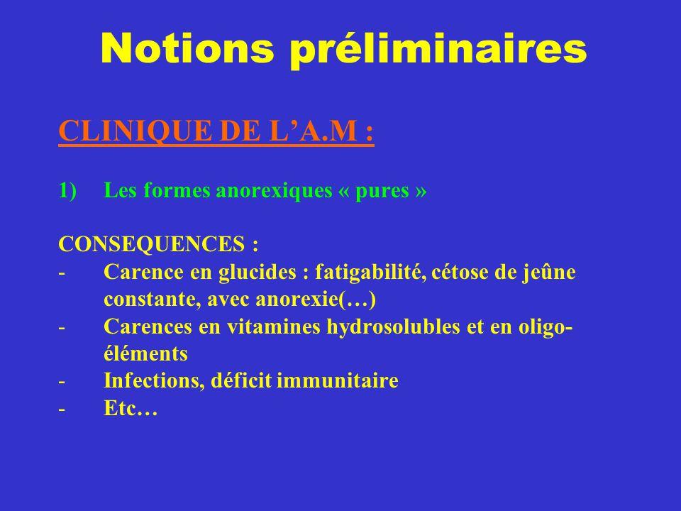 Notions préliminaires CLINIQUE DE L'A.M : 1)Les formes anorexiques « pures » CONSEQUENCES : -Carence en glucides : fatigabilité, cétose de jeûne const