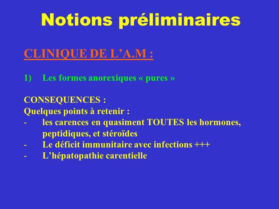 Notions préliminaires CLINIQUE DE L'A.M : 1)Les formes anorexiques « pures » CONSEQUENCES : Quelques points à retenir : -les carences en quasiment TOU