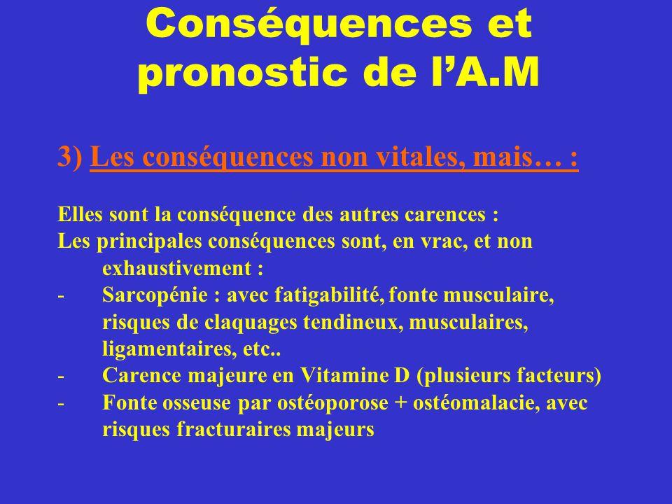 Conséquences et pronostic de l'A.M 3) Les conséquences non vitales, mais… : Elles sont la conséquence des autres carences : Les principales conséquenc