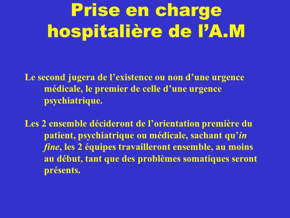 Prise en charge hospitalière de l'A.M Le second jugera de l'existence ou non d'une urgence médicale, le premier de celle d'une urgence psychiatrique.