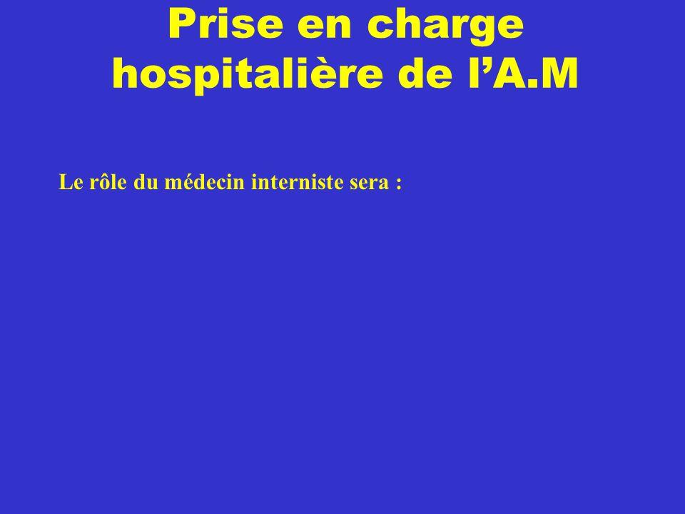 Prise en charge hospitalière de l'A.M Le rôle du médecin interniste sera :