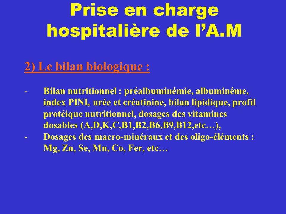Prise en charge hospitalière de l'A.M 2) Le bilan biologique : -Bilan nutritionnel : préalbuminémie, albuminéme, index PINI, urée et créatinine, bilan