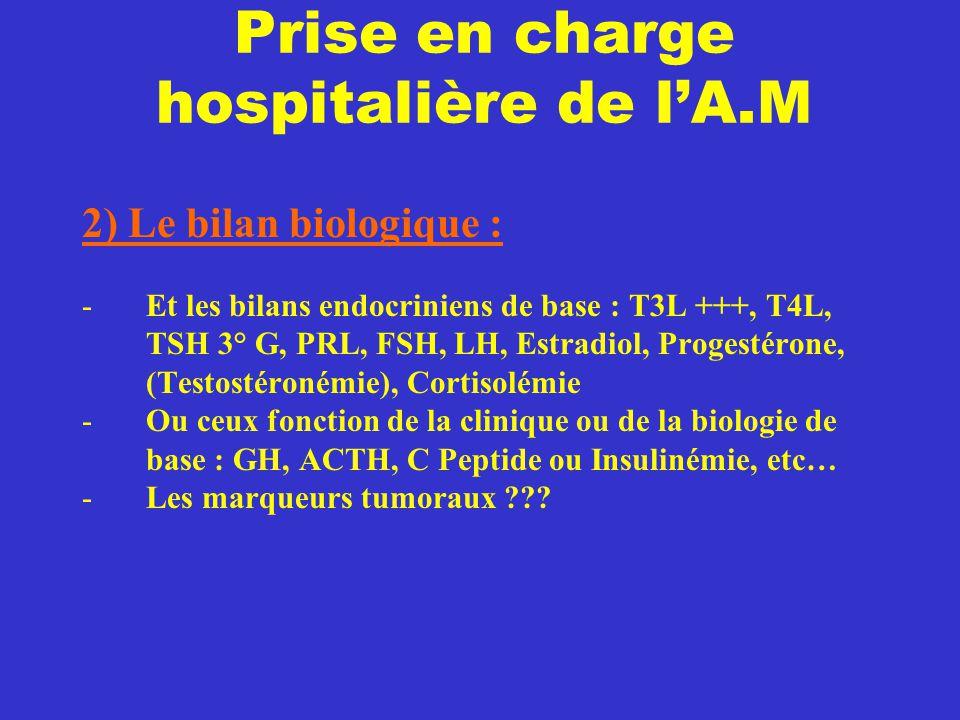 Prise en charge hospitalière de l'A.M 2) Le bilan biologique : -Et les bilans endocriniens de base : T3L +++, T4L, TSH 3° G, PRL, FSH, LH, Estradiol,