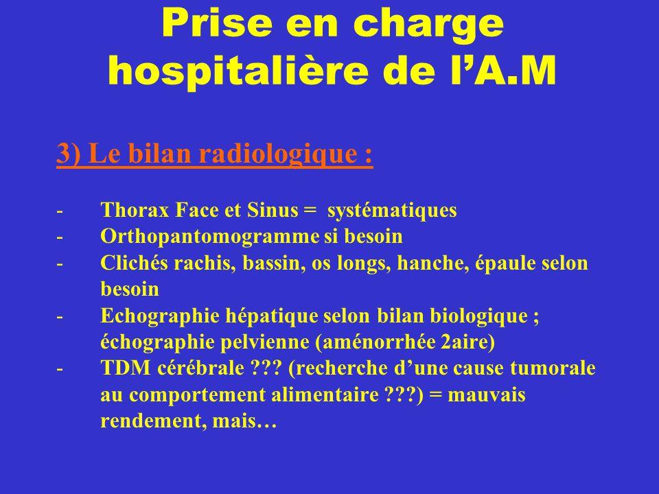 Prise en charge hospitalière de l'A.M 3) Le bilan radiologique : -Thorax Face et Sinus = systématiques -Orthopantomogramme si besoin -Clichés rachis,