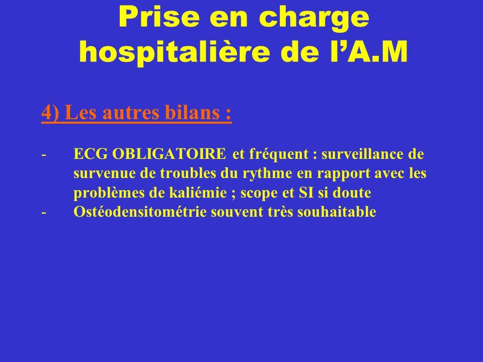 Prise en charge hospitalière de l'A.M 4) Les autres bilans : -ECG OBLIGATOIRE et fréquent : surveillance de survenue de troubles du rythme en rapport