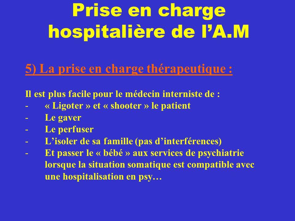 Prise en charge hospitalière de l'A.M 5) La prise en charge thérapeutique : Il est plus facile pour le médecin interniste de : -« Ligoter » et « shoot