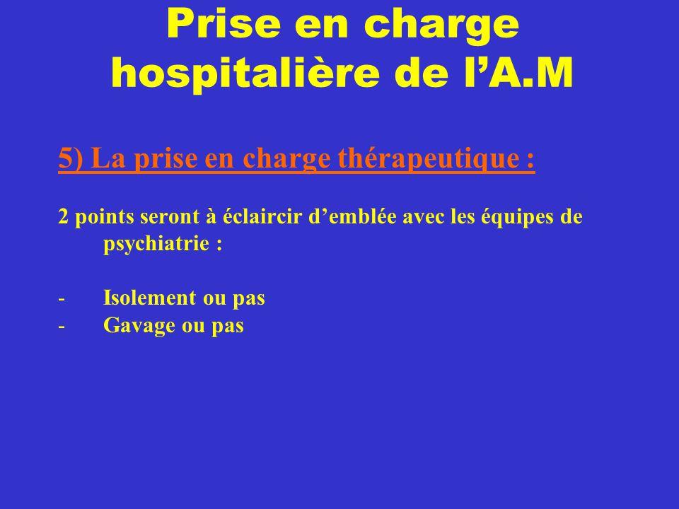 Prise en charge hospitalière de l'A.M 5) La prise en charge thérapeutique : 2 points seront à éclaircir d'emblée avec les équipes de psychiatrie : -Is