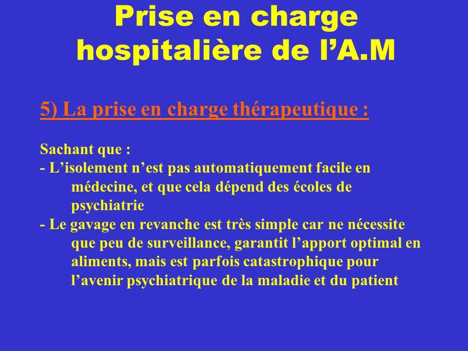 Prise en charge hospitalière de l'A.M 5) La prise en charge thérapeutique : Sachant que : - L'isolement n'est pas automatiquement facile en médecine,