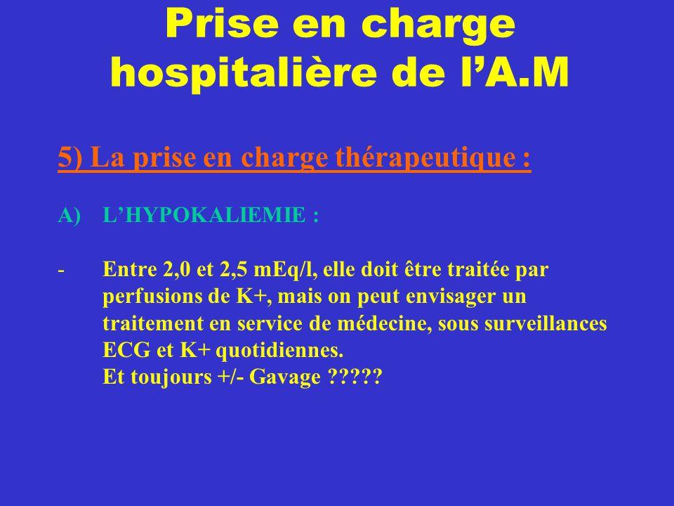 Prise en charge hospitalière de l'A.M 5) La prise en charge thérapeutique : A)L'HYPOKALIEMIE : -Entre 2,0 et 2,5 mEq/l, elle doit être traitée par per
