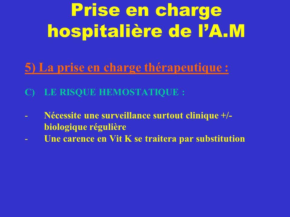 Prise en charge hospitalière de l'A.M 5) La prise en charge thérapeutique : C) LE RISQUE HEMOSTATIQUE : -Nécessite une surveillance surtout clinique +